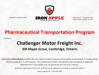 Pharma Certificate - Challenger Motor Freight